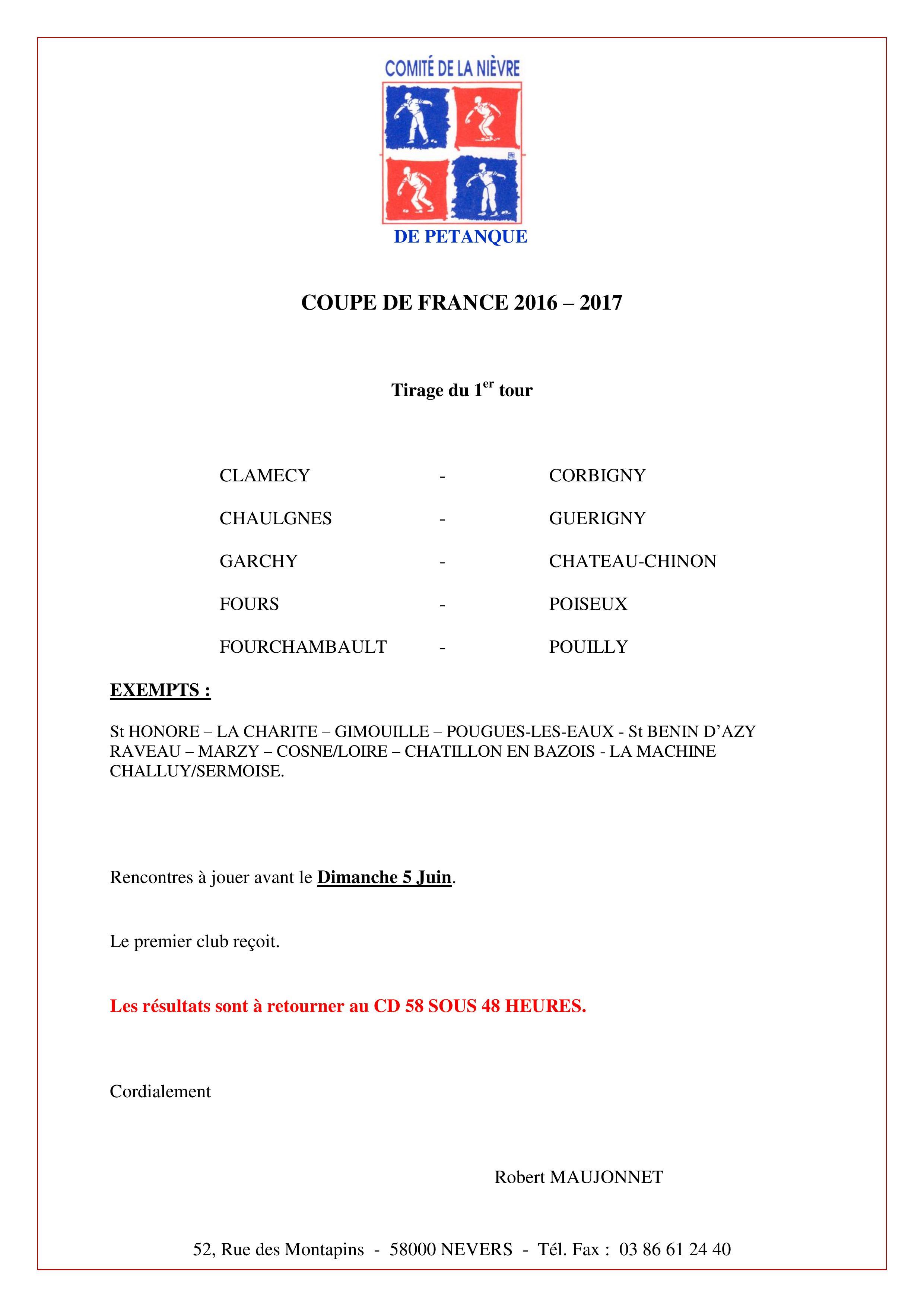 Coupe de france tirage du 1er tour - Tirage du 8eme tour de la coupe de france ...